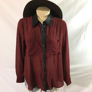 Forever 21 long sleeve sheer button down shirt